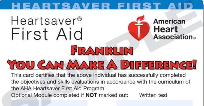 Heart Saver First Aid CPR Card